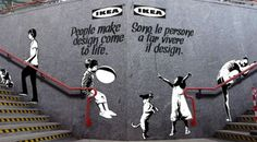 """Using #Banksy style, #IKEA stenciled images of people & animals over their billboards, displayed on subways, to """"humanize"""" their ads that feature nothing but their products. This is a part of the campaign, 'People bring Design to Life'."""