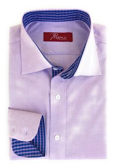 Persona Premium Dress Shirt Lavender oxford with blue check accents