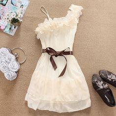 One-shoulder Chiffon Dress