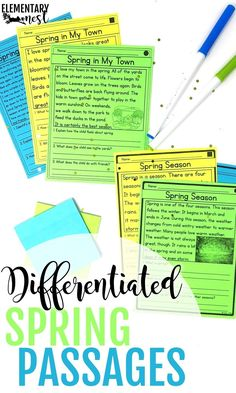 differentiated reading passages for spring, spring reading activities for kids. These spring passages come with three levels of differentiated reading levels for your small group activities Nonfiction Activities, Comprehension Activities, Reading Activities, Teaching Reading, Group Activities, Primary Teaching, Teaching Resources, Improve Reading Comprehension, Reading Passages