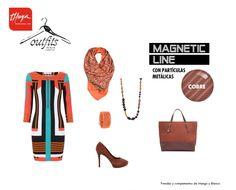 OUTFIT: LOOK RETRO.  Llena de vitalidad tu armario con prendas en colores saturados y motivos geométricos inspirados en los 60.    ¿Y para tus uñas? Dales un efecto metalizado con el esmalte permanente color cobre de Magnetic Line. Gel On-Off de la nueva Magentic Line.