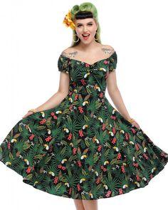 6d118de8c046 Collectif Dolores Tropicalia Toucan Print Cap Sleeve A-Line Doll Dress