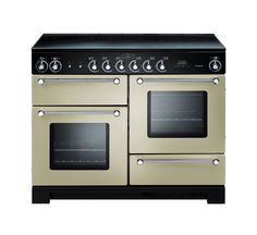 Rangemaster Kitchener range Cooker with Dual Fuel Gas Hob, fan oven & conventional oven. Available in Ivory, Gloss Black, Stainless Steel, Cream & Silver. Electric Range Cookers, Dual Fuel Range Cookers, Electric Hob, American Fridge Freezers, Domestic Appliances, Built In Ovens, Kitchen Appliances, Kitchens