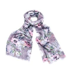LADIES LILAC PURPLE PINK BLUE PASTEL FLORAL PRINT SCARF WRAP WITH FEATHERED EDGE