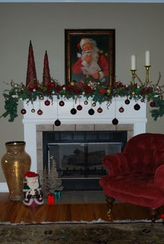 Our Christmas Mantle like the ornaments not the Santa pic