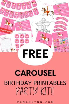Enjoy our entire set of carousel birthday party girl cute ideas! This carousel birthday ideas kit includes carousel themed birthday games, carousel birthday décor, carousel birthday thank you cards and carousel party invites. If you are looking for carousel party ideas free printable, here it is. Simply download and then print for free. Be sure to save this pin so your daughter can enjoy a carousel party! Check out our blog at VanahLynn.com Horse Birthday Parties, Party Favors For Kids Birthday, Birthday Games, Birthday Ideas, Carousel Themed Birthday, Carousel Party, Fun Party Games, Kids Party Themes, Party Ideas