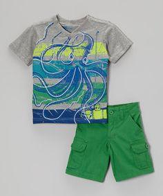 Another great find on #zulily! Blue Octopus Tee & Green Shorts - Toddler & Boys by BOYZ WEAR #zulilyfinds