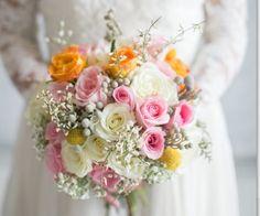 Wedding flowers***Bridal bouquet* whites, pink, gray, yellow, orange*** photographer Kate Pease