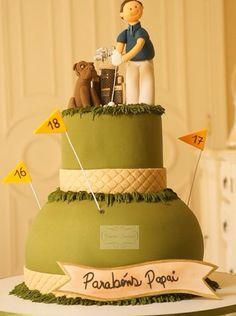 Bolo aniversário masculino, tema golfista, criado e assinado por Simone Amaral - www.simoneamaral.com
