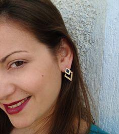 Rhombus Silver Earrings-Geometric Ear Jackets-Diamond Shape Jacket Earrings-Back Ear Silver Earrings-Ear jacket earrings-Front Back Earring