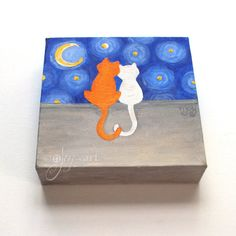Love Cats whimsical romantic cat painting 6x6 inch by nJoyArt