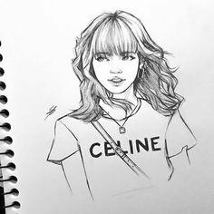 Girl Drawing Sketches, Portrait Sketches, Art Drawings Sketches Simple, Pencil Art Drawings, Music Drawings, Kpop Drawings, Girly Drawings, Anatomy Art, Art Sketchbook