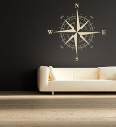wall appliques graphics & murals | Modern Compass Wall Decals for Living Room Design Compass Wall Decals ...