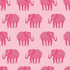Riley Blake Designs, The Quilted Fish, Madhuri Elephant Pink Fabric - Half Yard