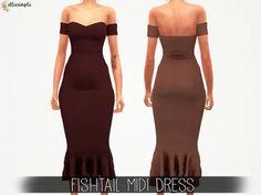 The Sims 4 Elliesimple - Fishtail Midi Dress The Sims 4 Pc, Sims 4 Mm Cc, Sims 4 Cas, Sims 4 Game Mods, Sims Mods, Sims 4 Mods Clothes, Sims 4 Clothing, Maxis, Sims 4 Dresses