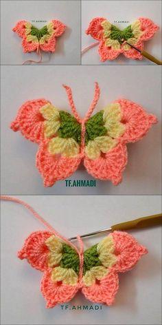 DIY Crochet Best Butterfly pattern crochet design idea Crochet is definitely an operation of fabricating Beau Crochet, Crochet Mignon, Crochet Diy, Crochet Motifs, Crochet Amigurumi, Crochet Crafts, Yarn Crafts, Crochet Projects, Doilies Crochet