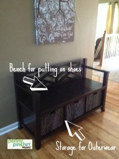 Organized Entryway - Storage for gloves, scarves and Organized Entryway, Entryway Storage, Entryway Organization, Getting Rid Of Clutter, Organizing Ideas, Diy Furniture, Household, Scarves, Gloves