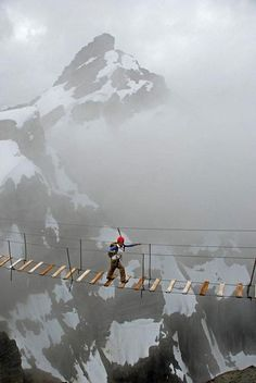 Skywalking on Mount Nimbus in Canada.