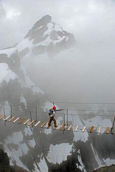 Skywalking on Mount Nimbus in Canada.