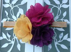 Yellow pink purple burlap headband - over the top headband - headband for girls toddlers and babies - big flower headband - hair clip for teens