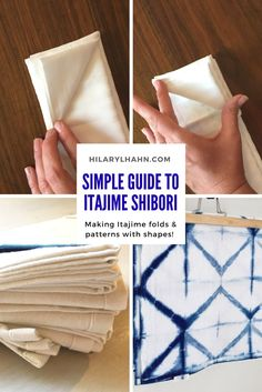 Guide to simple shibori folds with triangles. Itajime, Kumo and Arashi techniques, natural indigo, shibori DIY projects Shibori Fabric, Shibori Tie Dye, Dyeing Fabric, Fabric Dyeing Techniques, Tie Dye Techniques, Diy Tie Dye Shirts, Tie Dye Crafts, Spiral Tie Dye, How To Dye Fabric