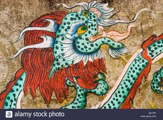 Dragon mural painting in Rumtek monastery Gangtok Sikkim India Stock Photo