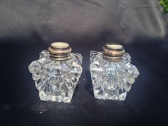 ANTIQUE MOTHER OF PEARL BUTTON AND STERLING SILVER CRYSTAL SALT PEPPER SHAKERS