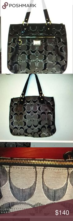 """Coach poppy tote Excellent pre-owned condition. Black/Gray/gold. Zips across the top. 16.5""""L x 12""""H x 5""""D. Strap drop 8"""". No hangtag. Coach Bags Totes"""
