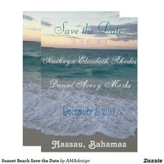 Shop Bahamian Sunset Save the Date Magnet created by AMAdesign. Beach Invitations, Invitation Design, Save The Date Magnets, Save The Date Cards, Beautiful Sunset, Wedding Color Schemes, Big Day, Destination Wedding