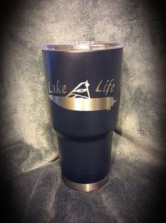 YETI 30 oz. Rambler coated in Duracoat Dark Blue with custom Lake Life design.