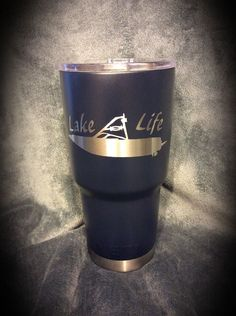 YETI 30 oz. Rambler coated in Duracoat Dark Blue with custom Lake Life design.