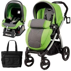 Peg Perego Book Plus Stroller Travel System with a Diaper Bag - Mentha - Apple Green Grey