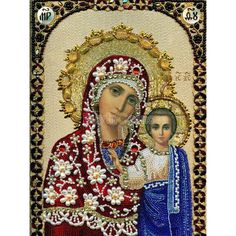 5D Rhinestones Christian Blessed Virgin Mary Jesus Cross Stitch Kit DIY Craft -- BuyinCoins.com