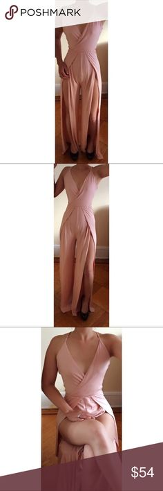 """Dusty Pink Puma Jumpsuit I can't describe how this jumpsuit make you feel. It's super soft, flowy, & stretchable. Double lined & not sheer. Love the open back crisscrossing. Shows off your fabulous legs when you sit, making it look like a bodysuit & skirt at the same time. Features a deep V to make it seem classy & an elastic band on the waist, keeping you slim.  ◈Modeling Size Small ◈ Inseam 30"""" Pit to Pit 12"""" ◈1"""" difference between sizes  ◈Materials Rayon & Spandex ◈Made in the USA 🇺🇸…"""