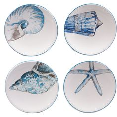 Certified International Sea Finds Set of 4 Canap Plates (1321320 BYR) ❤ liked on Polyvore featuring home, kitchen & dining, serveware, certified international plates, set of 4 plates, certified international, ceramic plates and microwave safe plates