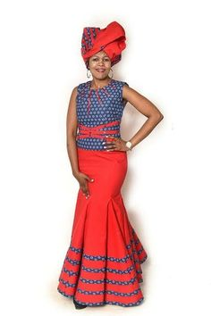 African Fashion – Designer Fashion Tips Sotho Traditional Dresses, South African Traditional Dresses, Traditional Fashion, Traditional Outfits, Traditional Wedding, Seshweshwe Dresses, African Wear Dresses, African Attire, Xhosa Attire