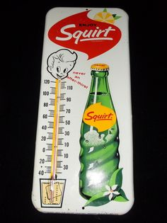 "Squirt Thermometer (Vintage 1963 Soda Advertising Thermometer, ""Never An After Thirst"", Antique Pop Drink Thermometers)"