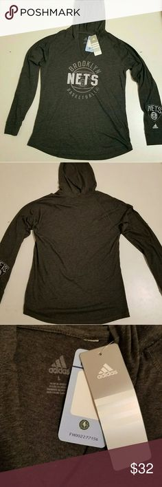 """NWT Authentic NBA Nets Adidas hooded fitted shirt Adidas Nets Brooklyn Basketball fitted hoodie shirt by """"nba 4 her"""" with orignal tags and authentication number! Soft and comfortable cotton blend fabric. Size large, but meant to be fitted and can fit a smaller size. ♡ adidas Tops Tees - Long Sleeve"""