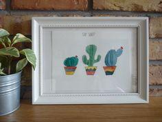 Stay sharp, Original Illustrations, Illustration watercolor, Watercolor art drawing, black ink, cactus, watercolor cactuses by NataliaKasperowArt on Etsy