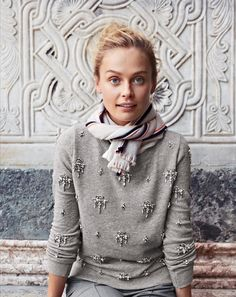 Jeweled Chandelier Sweatshirt | J.Crew. Styling idea: Wear a embellished sweater or sweatshirt in a similar color with a similar striped scarf. Cute look!
