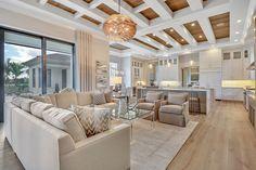 Naples Florida, Florida Home, Clearwater Florida, Tampa Florida, Interior Design Gallery, Beach Interior Design, Open Plan Kitchen Living Room, Home Living Room, Dream Home Design