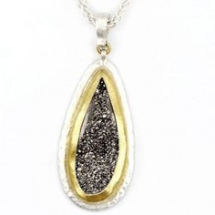 Sterling Silver layered with 24K Gold, Drusy Quartz Pendant by GURHAN
