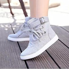 Lacey Fashion Lacing Canvas All Match Boots