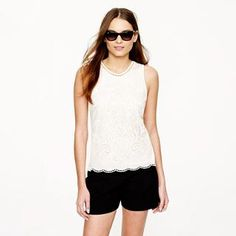 Embroidered eyelet tank - sleeveless - Women's shirts & tops - J.Crew