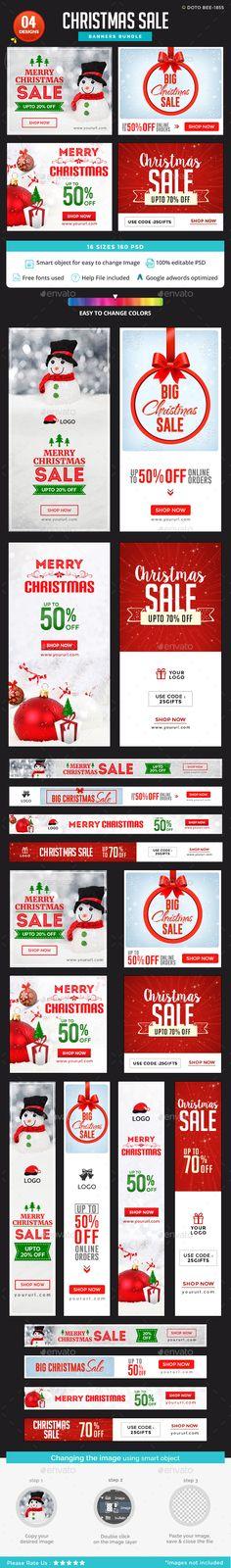 Christmas Sale Banner Design Template Bundle - 4 Sets - Banners & Ads Web Elements Design Template PSD. Download here: https://graphicriver.net/item/christmas-sale-banners-bundle-4-sets/19193009?ref=yinkira