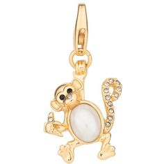 Kate Spade Monkey Charm ($32) ❤ liked on Polyvore featuring jewelry, pendants, gold plated charms, kate spade jewelry, monkey charm, charm pendant and gold plated jewelry