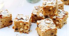 Christmas blondies recipe - By Australian Women& Weekly, Enrich and sweeten the festive season with these scrumptious fruit, almond and white chocolate brownie-like squares. They don& exclusively need to be dessert either. Xmas Food, Christmas Cooking, Christmas Desserts, Christmas Recipes, Christmas Cakes, Christmas Things, Christmas Goodies, Christmas Ideas, Almond Recipes