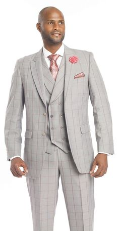 Elegant Mens Plaid Grey Pink Burgundy Blazer 3 piece Dress Suit Summer Spring. Vest Double Breasted Wear with jacket or without. Mens Jacket Great Fit Flap Pockets 2 Buttons. For example, if you order a 40R coat youll receive 34 waist. | eBay! delivery uk worldwide