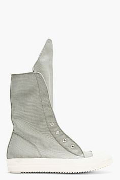 Rick Owens DRKSHDW Silver Nylon Very High-top Sneakers for men | SSENSE