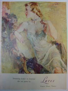 1951 John Lagatta Art Illus Laros Blue Slip Vendome Nightgown Womens Vintage Ad | eBay